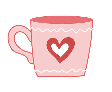 Valentines Day. Cute cartoon cup with heart. Pink color.