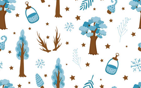 Cute fashion pattern in the northern style. Blue tone. Tree, deer horns and leaves on a white background. Childrens textiles.
