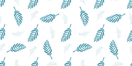 BLUE LEAVES ON A WHITE BACKGROUND. DELICATE SEAMLESS PATTERN. FASHIONABLE COLORS OF 2020.