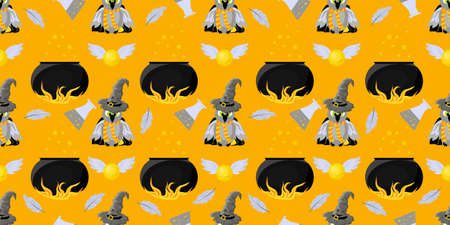 Seamless pattern magic and sorcery. Owl, pot of witchcraft potion. Hogwarts School of Magic. Teenage Textiles. Ilustração