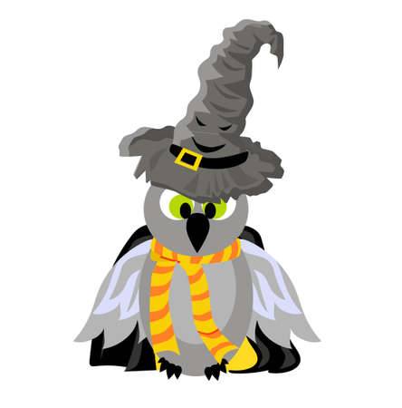 SCHOOL OF MAGIC. OWL In a mantle and a magic talking hat.