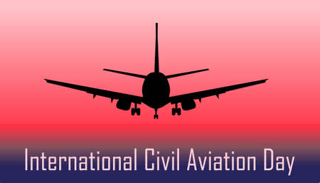 International Civil Aviation Day. Postcard with an airplane.. Ilustração