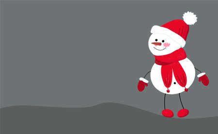 Christmas Cute Little Cheerful Snowman with Red Scarf and Santa Cap. Christmas cute cartoon character.