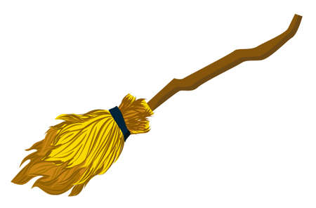 Magic item: Wizards flying broom. Broom for cleaning the house.. Ilustração
