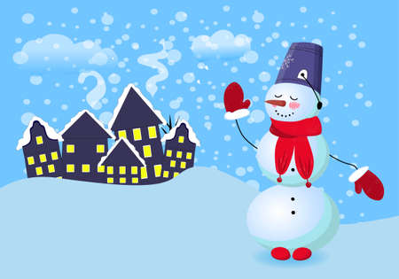 Merry Christmas. Cartoon snow man in red hat and and falling snow. Vector illustration..