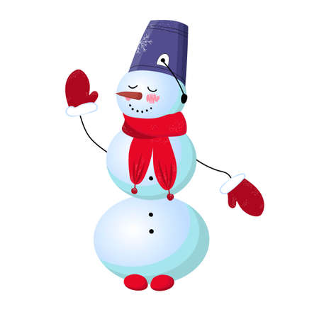 Cute snowman on a white background. Vector illustration. Winter character. Snow woman. Nose carrot..