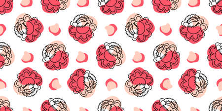 Seamless pattern with linear flowers. Petrikov painting style. Textile and wrapping paper design. Red, pink and white color..