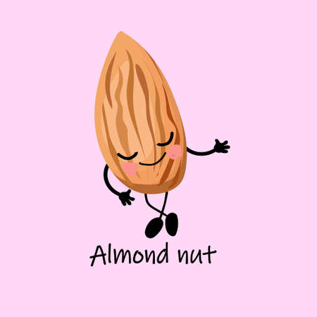 Walnut almond character with arms and legs. Childrens card for studying nuts..