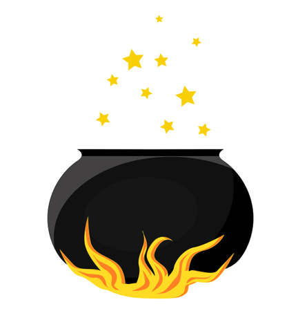 A magical item. A pot of boiling magic potion. The cauldron is on fire..