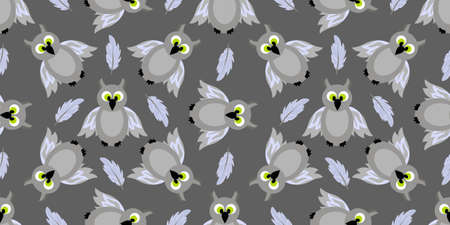 Seamless pattern magic and sorcery. Owl. Gray bird. Ilustração