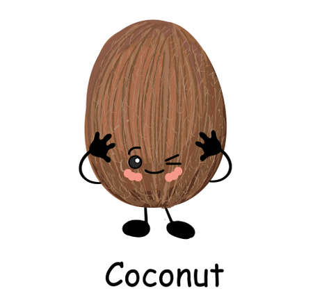 Cute happy cartoon coconut with a cheesy grin and its tongue protruding and arms with a second plain variant with no face and separate elements