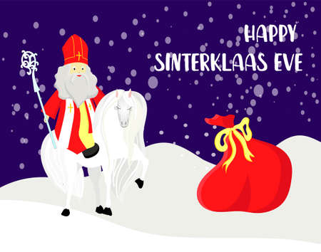 Cute greeting card with Saint Nicholas with mitre, pastoral staff and falling snow. European winter tradition. Hand-lettered text. Flat design, illustration.