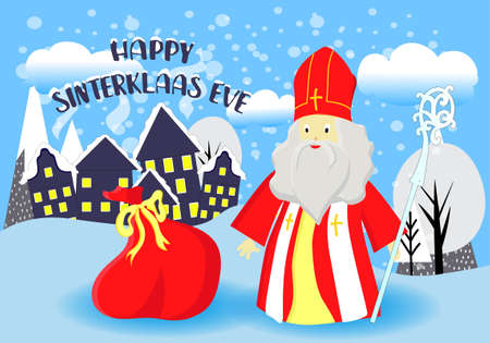Greeting card for St. Nicholas Day. Translation from Dutch: Happy St. Nicholas Day