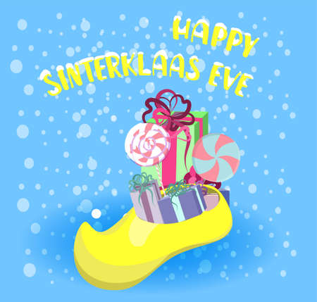 Greeting card in cartoon style with a traditional Dutch shoe filled with gifts and sweets. St. Nicolas day.