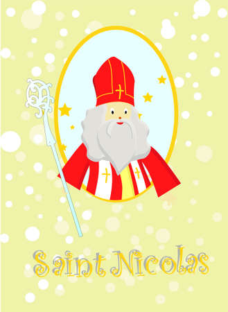 Greeting card for St. Nicholas Day. Childrens winter holiday.