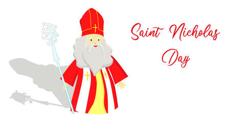 St. Nicolas day. December 6 and December 19. Sinterklaas on a white background.