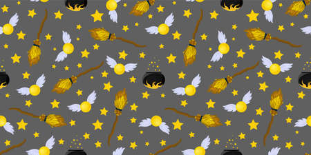 Seamless pattern magic and sorcery. Magic snitch and flying broom.