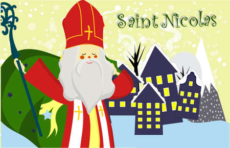 Cute greeting card with Saint Nicholas with mitre, pastoral staff and falling snow. European winter tradition. Hand-lettered text. Flat design, illustration Stockfoto - 134458708