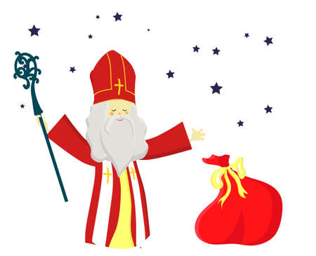 Cute greeting card with Saint Nicholas with mitre, pastoral staff and falling snow. European winter tradition. Hand-lettered text. Flat design, illustration