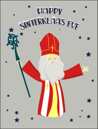 St. Nicolas day. Greeting card for the sinterclass. Holiday gifts in a red bag.