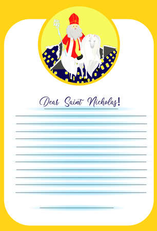 Dear Saint Nicholas Letter template for ordering gifts and wishes. Kids design