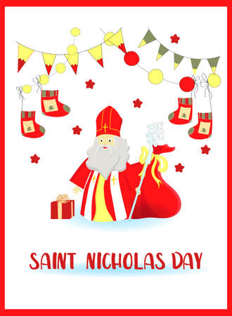 flat illustration of Sinterklaas with copy space Banco de Imagens