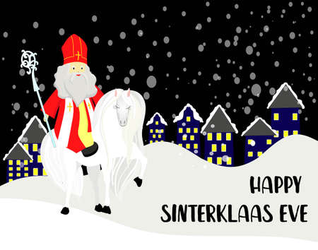 Greeting card for St. Nicholas Day. Translation from Dutch: Happy St. Nicholas Day. Banco de Imagens