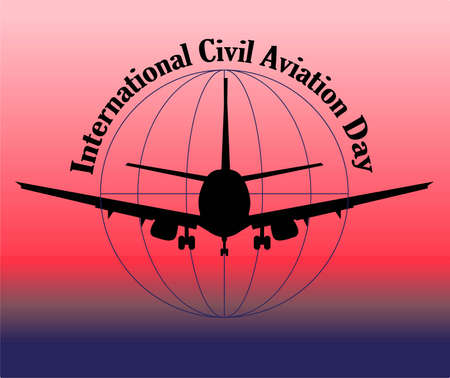 International Civil Aviation Day. Airline banner or advertising. Passenger aircraft vector