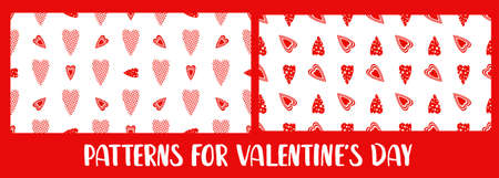 A set of patterns for Valentines Day. Love and hearts, February 14th. Pattern for textiles and packaging paper. Romantic motives.
