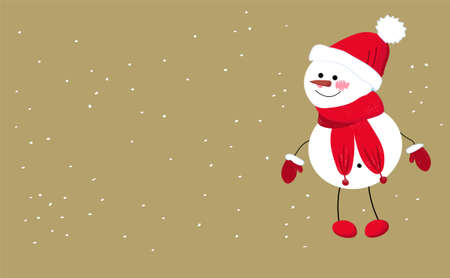 Cute kawaii snowman. place for text. COPY SPACE. Greeting card for new year and christmas. Winter character.