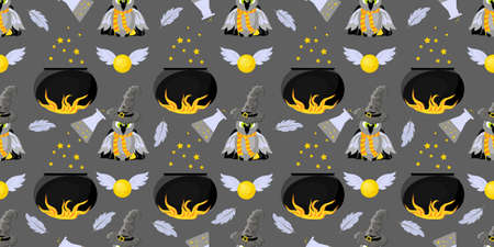 Seamless pattern magic and sorcery. Hogwarts School of Magic. Childrens and teenage style.