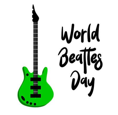 The Beatles Birthday Party, John Lennon, Paul McCartney, George Garrison, Stuart Sutcliff, Pet Best, Poster for the Beatles Day. Guitar. Rock music