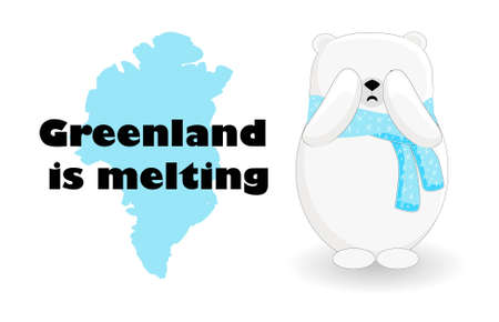 Global warming. Greenland is melting. Melting glaciers. Catastrophe. Banner on the topic of environmental issues. Northern Bear.