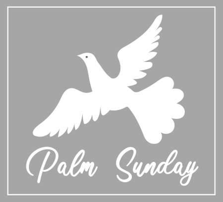 Palm Sunday. The week before Easter. banner or card. White dove with palm leaf. Vettoriali