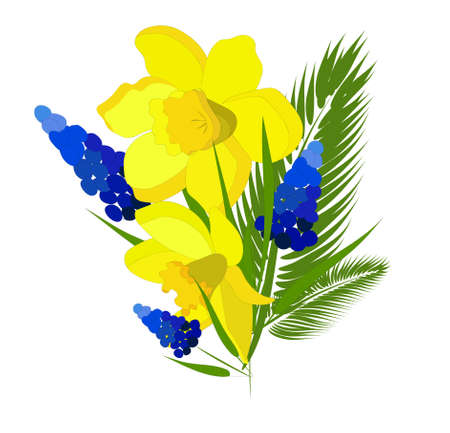 Bouquet of spring flowers isolated on white background. Vector illustration. Tulips, daffodils and twigs of palm trees. Isolated element for creating postcards.