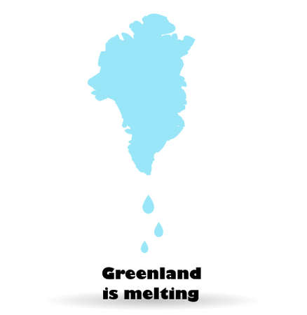 Melting glaciers of Greenland. The island of Denmark. Global warming. Changing of the climate. Map of Greenland on a white background. Illustration