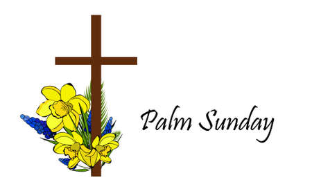 Palm Sunday. The week before Easter. banner or card.