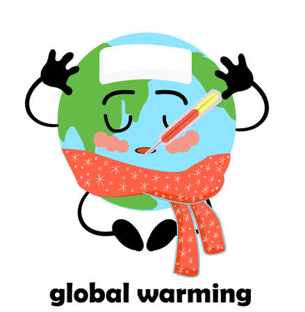 Global warming. Rising planet temperature. Earth Climate Change. Catastrophe. Banner on the topic of environmental issues. Planet earth character isolated on white background.