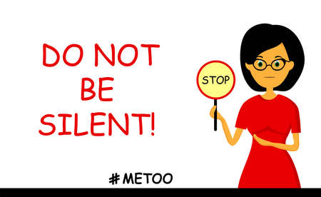 Women against violence. Harassment Time to talk. Me too. The hashtag of the social movement. Against men.. Illustration