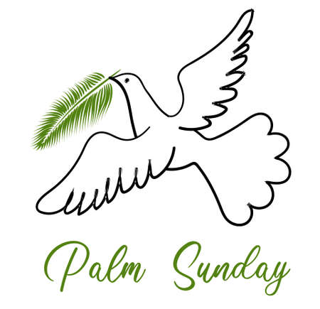 Palm Sunday. The week before Easter. banner or card. White dove with palm leaf. Vectores
