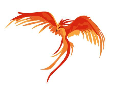 Phoenix. The magic phoenix. Harry Potter. Professor Dumbledore's Bird. Vector illustration isolated on a white background. Fiery animal.