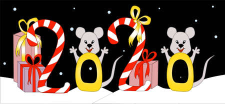 The symbol of 2020 is the rat. New Year card with the inscription and rodents. Gifts, mice.