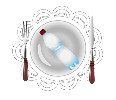 Microplastic. Decomposition of plastic in nature. We eat waste. Environmental protection concept. The problem of ecology. Vector illustration isolated on white. Bottle on a fork. Stock Illustratie