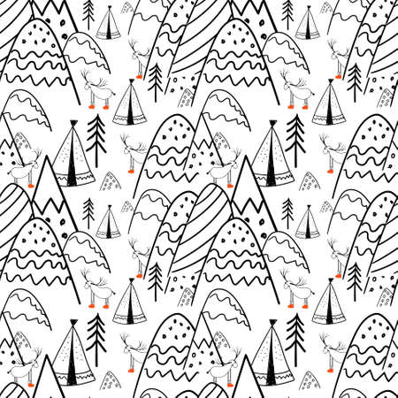 Northern forest. Illustration in folk style. Stylized mountains. Scandinavian print. Line drawing. Seamless pattern for kids.