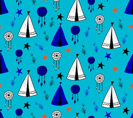 Seamless pattern in Scandinavian style for children .. Cute cartoon trees and tents on a blue background. Wigwam for the Indians. Drawings for boys
