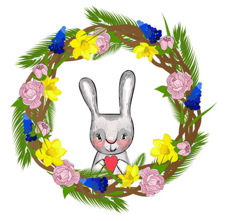 Easter wreath with spring flowers. Lettering spring. Element for the design of spring banners and posters. Isolated on a white background.