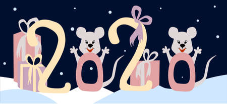 Postcard with the inscription 2020. Mice and gifts. Happy New Year and Merry Christmas. Illustration