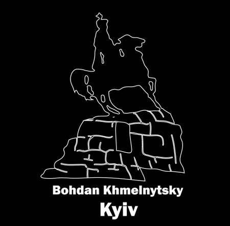 Sights of Ukraine. Monument to Kozak. Bohdan Khmelnytsky. The horseman on horseback. Kiev. Logo vector illustration. Stock fotó - 136603792