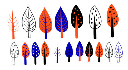 Large set of design elements isolated on white background. Cartoon trees. Multi-colored bushes on a white background.