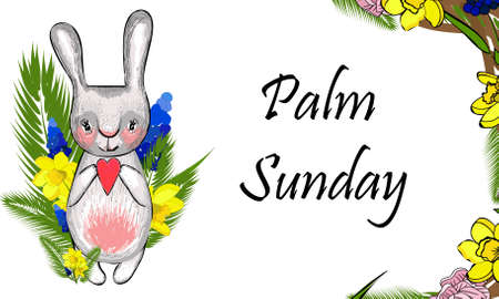 Palm Sunday. Spring flowers greeting card. Religion Christianity
